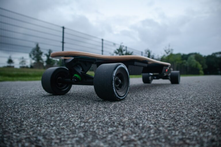 wheels of electric skateboard up close