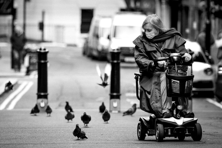 lady on a mobility scooter