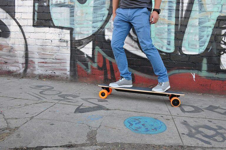 riding skateboard on street