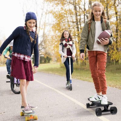 kids on skateboards, scooter, bicycle