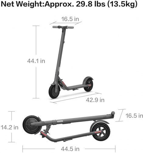 Segway Ninebot E22 approx dimension