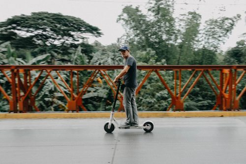 person riding electric scooter